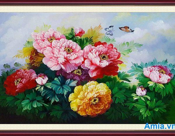 tranh son dau hoa mau don treo phong ngu dep