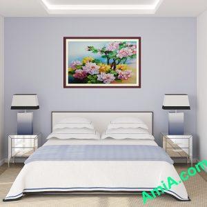 tranh ón dau hoa mau don
