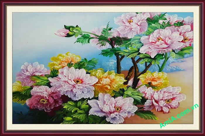 tranh son dau hoa mau don tsd154