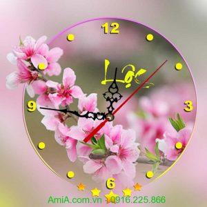 Hinh anh dong ho tranh trang tri hoa dao AmiA DH31