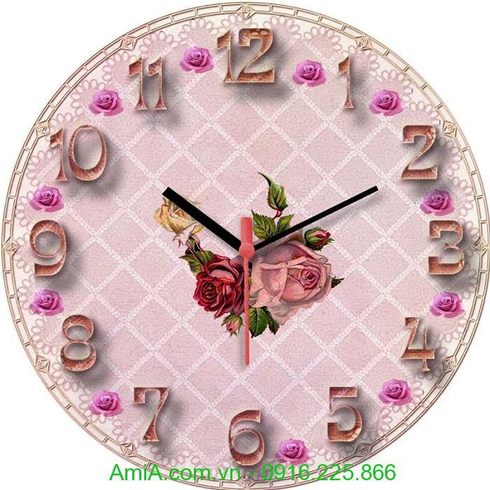 Hinh anh dong ho tranh vintage hoa hồng amia dh23