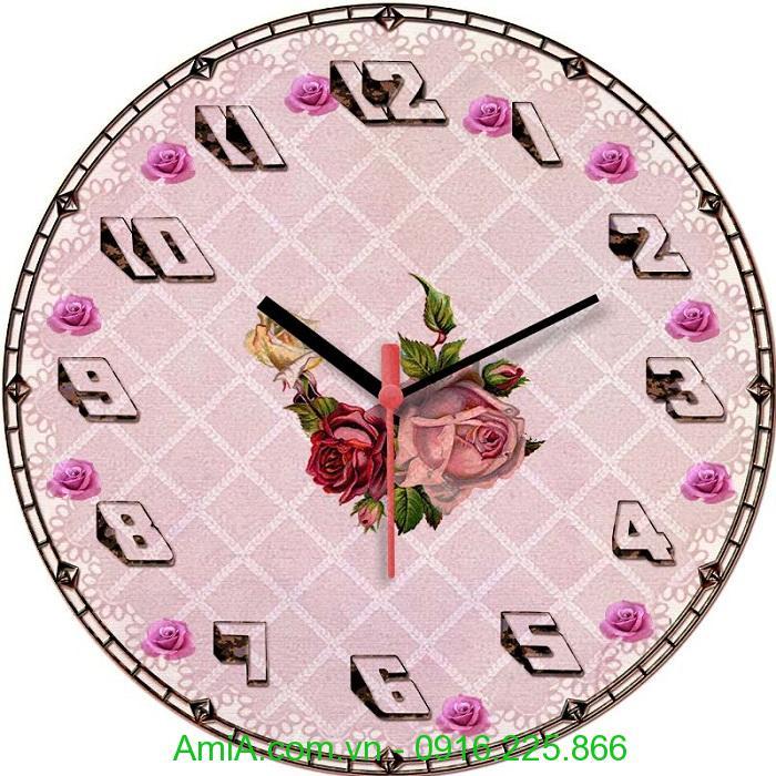 Hinh anh dong ho tranh vintage hoa hong hoa tiet soc vuong