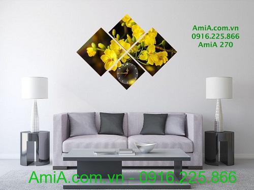 Hình ảnh tranh tết đồng hồ hoa mai vàng