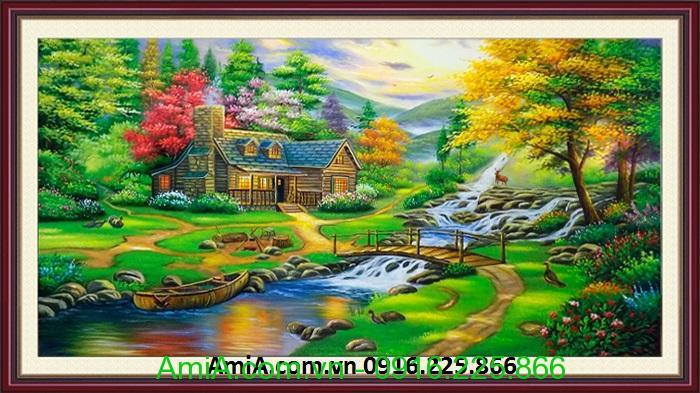 tranh son dau dep nhat ve phong canh mua thu la vang roi
