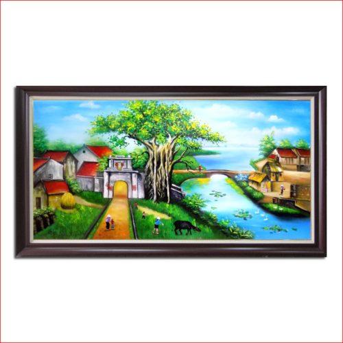 Tranh sơn dầu khổ lớn Amia 185 vẽ cảnh làng quê việt nam