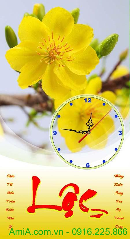 HInh anh tranh tet hoa mai vang lam dong ho loc lich TL14