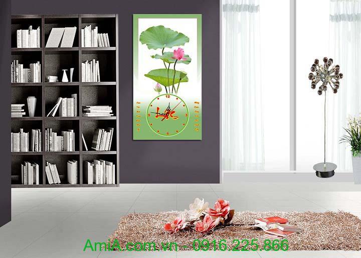 Hinh anh tranh Tet hoa Sen dang dong ho lich AmiA