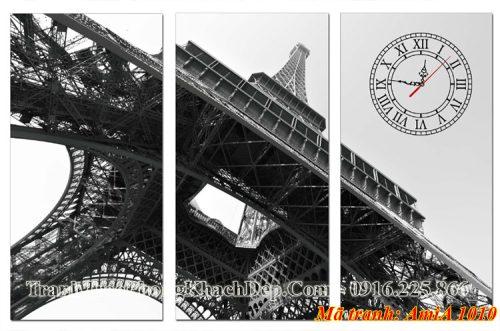 Tranh đồng hồ đen trắng tháp Eiffel Amia 1010