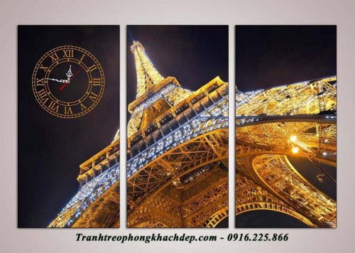 Hinh anh tranh dong ho thap Eiffel ve dem AmiA 1011