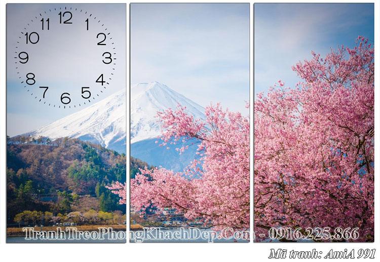 Tranh AmiA 991 ghép 3 tấm cảnh Nhật Bản