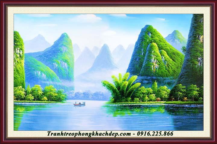 Hinh anh tranh phong canh que huong bien xanh bat ngat AmiA 986