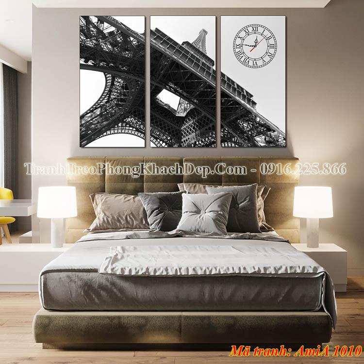Tranh tháp Eiffel treo phòng ngủ đẹp Amia 1010