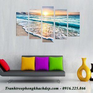 Tranh trang trí phòng khách bình minh trên biển AmiA