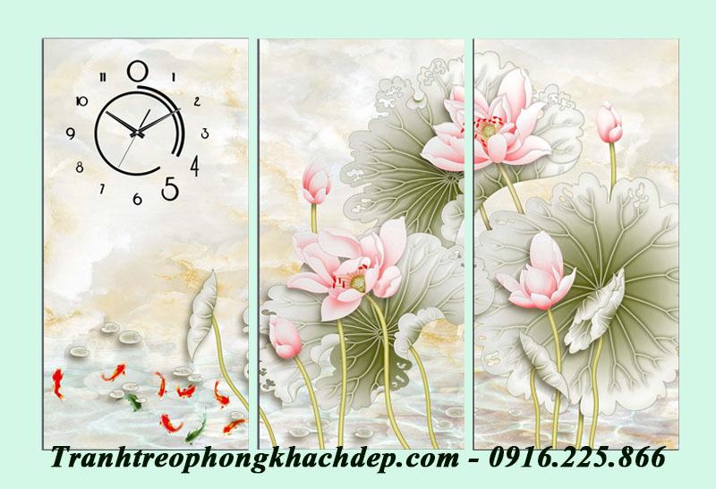 Tranh ca chep hoa sen trang tri tet AmiA 1096