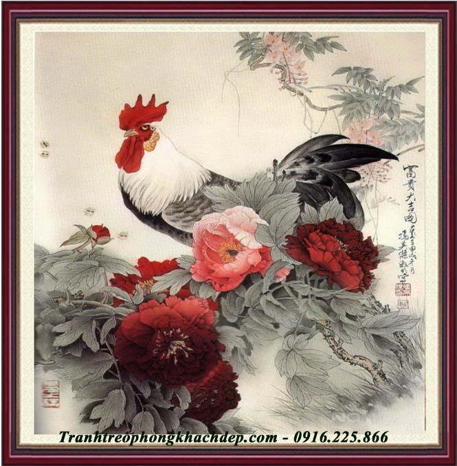 Hinh anh tranh ga trong hoa mau don treo phong lam viec mot tam AmiA 1107