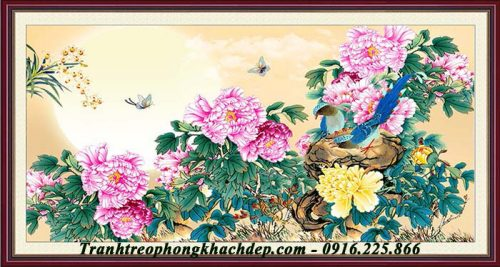 Tranh hoa mau don va doi chim Amia 1092