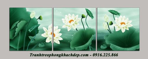 Hinh anh tranh treo phong khach hoa sen ghep bo kho lon AmiA 1102