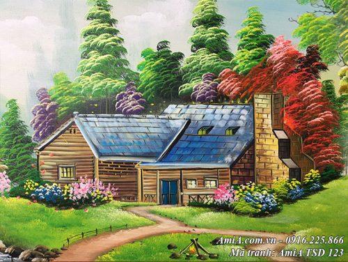 Tranh vẽ ngôi nhà sơn dầu giữa vườn cỏ cây xanh TSD 123