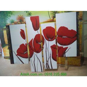 Tranh sơn dầu ghép bộ hoa poppy