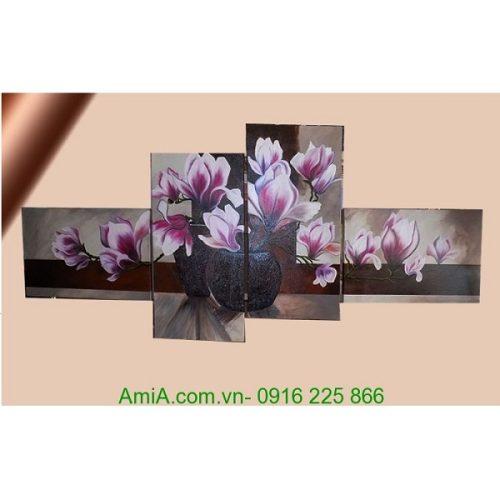 Tranh sơn dầu ghép bộ hoa mộc lan