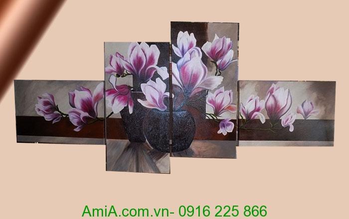 tranh ghep bo son dau hoa moc lan