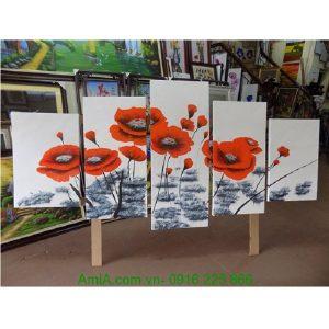 Tranh sơn dầu ghép bộ hiện đại hoa poppy