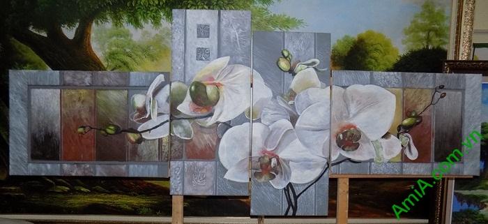tranh son dau ghep bo hoa lan hien dai