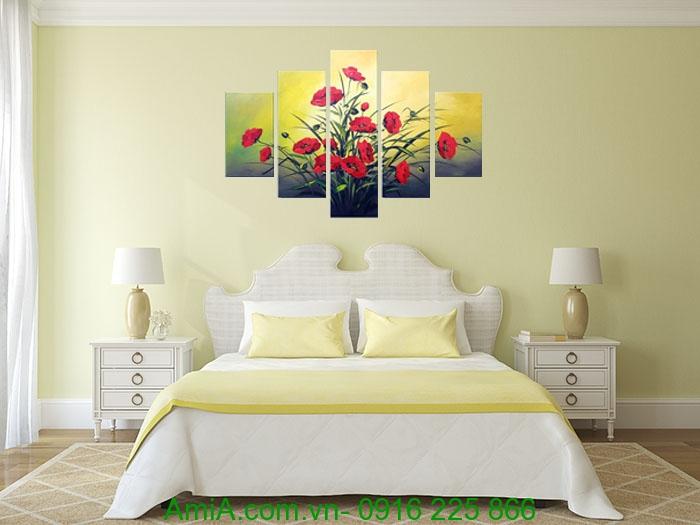 Hinh anh tranh son dau hoa poppy trang tri phong ngu