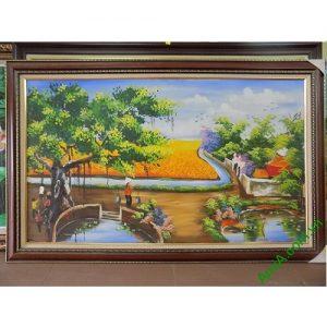 Tranh phong cảnh làng quê vẽ sơn dầu