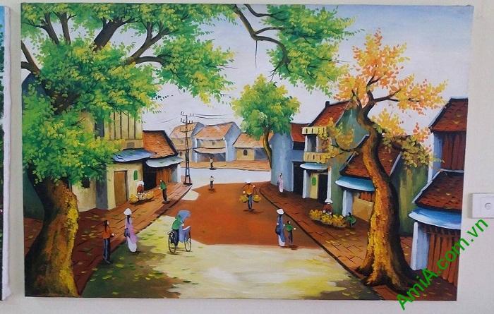 Hinh anh phong canh sang som cua khu pho Ha Noi duoc ve son dau