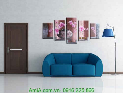 tranh trang tri son dau ghep bo binh hoa sen