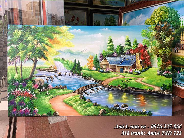 Tranh vẽ ngôi nhà châu âu thực tế tại cửa hàng tranh AMiA