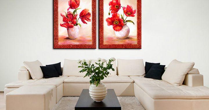 Hinh anh 5 mau tranh canvas binh hoa dep treo phong khach phong an