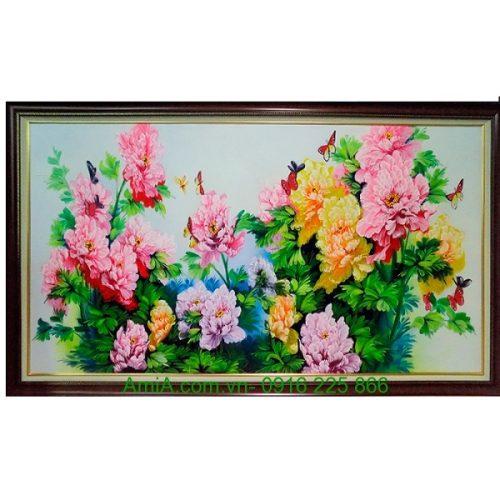 Tranh sơn dầu hoa mẫu đơn tình duyên