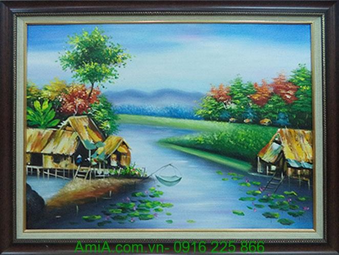 tranh son dau phong canh que huong