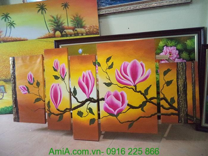 tranh hoa moc lan ve son dau