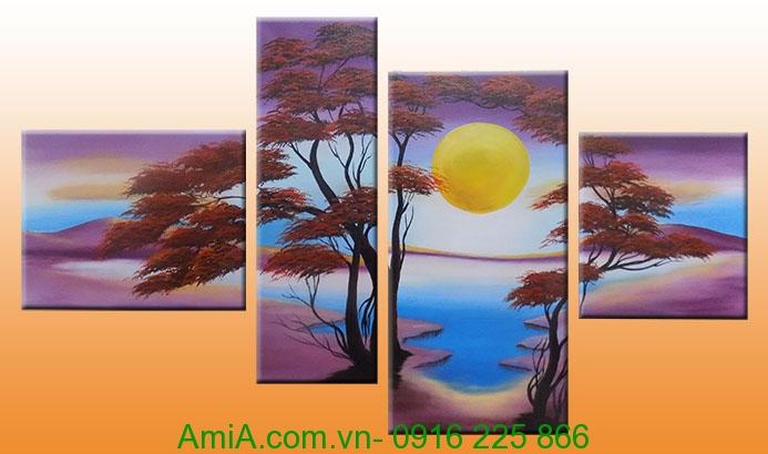 tranh son dau phong canh ghep bo