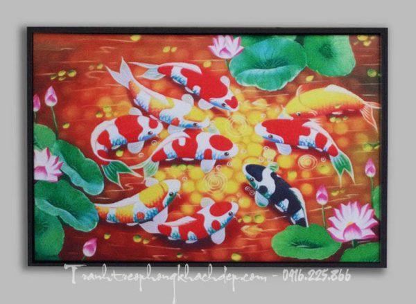 Hinh anh tranh ca chep hoa sen in vai canvas dep AmiA