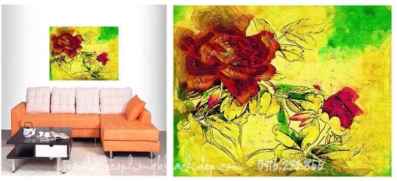 Hinh anh tranh canvas dep hoa hong truu tuong AmiA