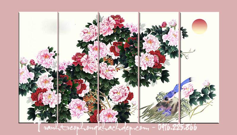 Hinh anh tranh canvas hoa mau don ghep bo AmiA