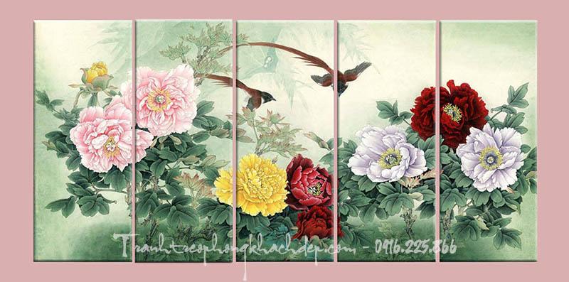 Hinh anh tranh canvas hoa mau don doi chim amia hop menh Hoa