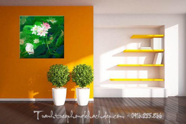 Hinh anh tranh canvas hoa sen treo tuong phong khach dep