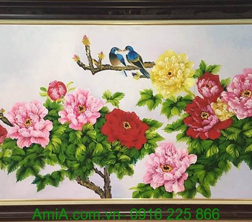 tranh doi chim hoa mau don