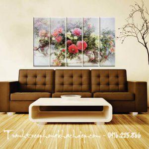 Hinh anh tranh hoa mau don canvas treo tuong phong khach phong ngu