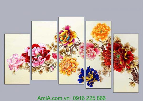 tranh in ep go hoa mau don