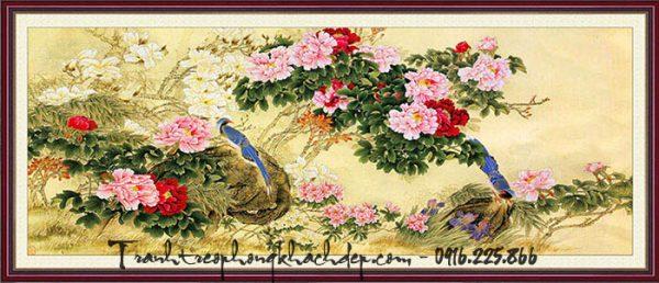 Hinh anh tranh hoa mau don in gia son dau kho lon