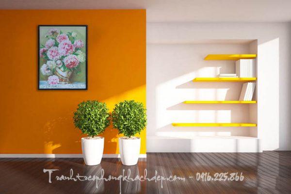 Hinh anh tranh hoa mau don in vai canvas treo phong khach dep