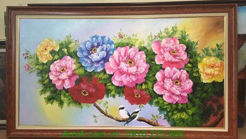 tranh hoa mau don va doi chim