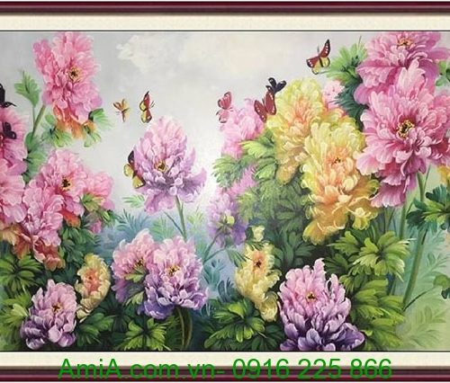 tranh hoa mau don ve son dau