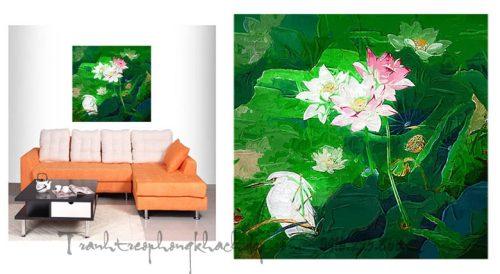 Hinh anh tranh hoa sen truu tuong in vai canvas